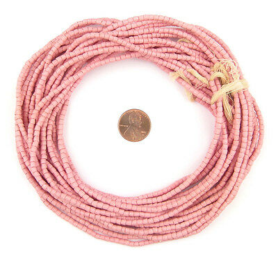 Rose Pink Sandcast Seed Beads 3mm Ghana African Cylinder Glass 26 Inch Strand