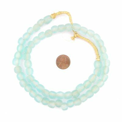 Clear Marine Recycled Glass Beads 9mm Ghana African Sea Glass Blue Round