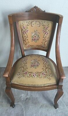 American Edwardian mahogany and upholstered armchair