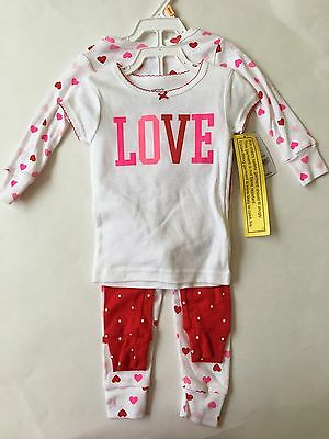 NEW Carters Toddler Girl 4 Piece Pajama Set Love Hearts Size 4T