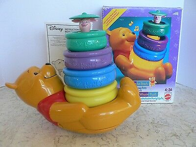 RARE Vtg Winnie the Pooh MUSICAL HONEY POTS Original Box Mattel 1994 Complete