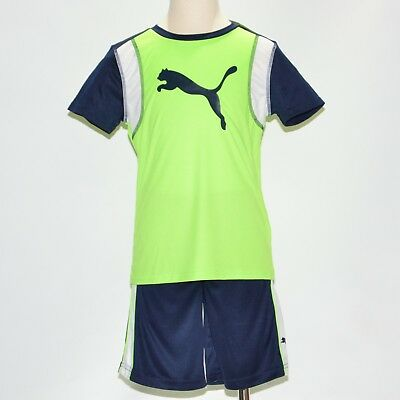 New Puma Kids Boys Sports 2pc Shorts Active Green Athletic Outfit Set