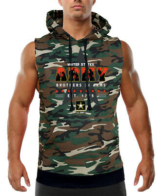 Men/'s Brothers In Arms Black Sleeveless Vest Hoodie Workout Fitness US Army Star