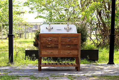 "Reclaimed Wood 36"" Trough Sink Kohler Farm Sink Apothecary Chest High Back Sink"