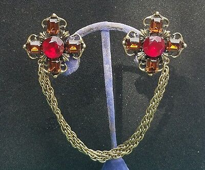 Vintage Antiqued Brass Cross Red & Orange Glass,  Chain Sweater Guard Clip