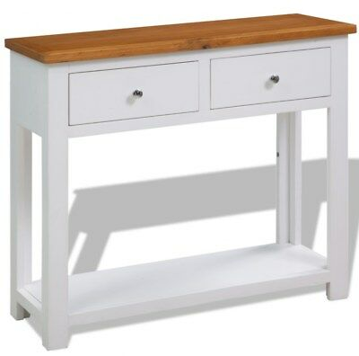 Solid Oak Wood Console Table Side White Furniture Country Hallway Large Drawer