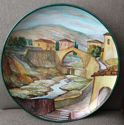 "Vintage Ventura Florence​ Italy Large 14"" Round Serving/Wall Plaque Hand Painted"