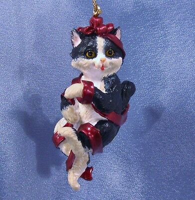 Cat Wrapped in Ribbon Christmas Ornament New