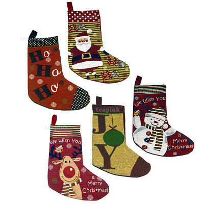 Tapestry Christmas Stocking Sack Xmas Decoration for Christmas Gift & Presents