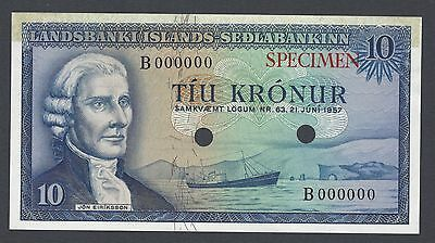 Iceland Landsbanki Islands 10 kronur 21-6-1957 P38ct Specimen Trial Color UNC