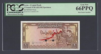 Syria Syrie One Lira 1978/AH1398 P93ds Specimen Uncirculated