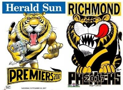 2017 Richmond Tigers Premiers Posters SET OF 2 WEG & KNIGHT - ITS TIGER TIME