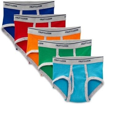 LOT OF 5 FRUIT OF THE LOOM Boys Briefs Underwear Assorted Colors 4T