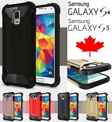 Samsung Galaxy S5 S6 Dual Layer Shockproof Hybrid Armour Tough Case Tempered