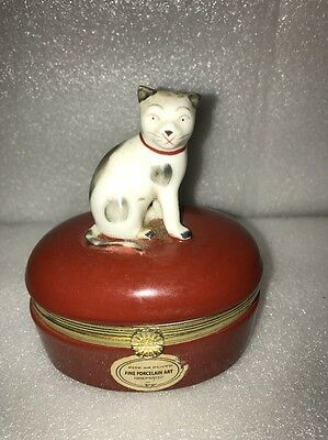 Fitz and Floyd Cat box porcelain handpainted Japan