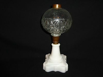 Antique Victorian 19th.c Milk & Clear Glass Kerosene Oil Lamp Base