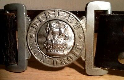 Great War ( WW 1 ) British Army Brass Belt & Buckle, United Kingdom, Kings Crown