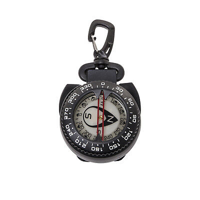 Large Glow in the Dark Dive Compass With Retractor Cable, Gate Snap Clip