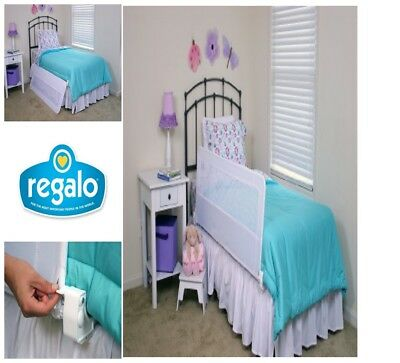 Regalo Swing Down  Bedrail White Long Bed Rail Safety Extra Toddler