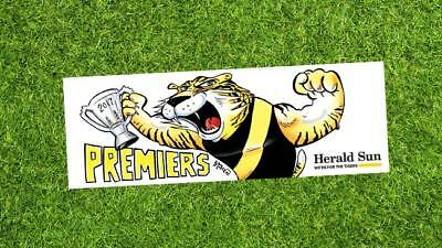 3 x 2017 AFL RICHMOND TIGERS PREMIERSHIP PREMIERS STICKER herald sun