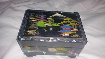 Vintage Okada hand painted black laquered/Mother of Pearl Japan jewelry Box