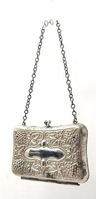 Antique Ladies Coin Purse Victorian or Edwardian Ornate Chained Money Case