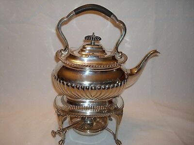 Vintage Mappin & Webb Queen Anne Silver Tipping Teapot, Stand & Burner, London