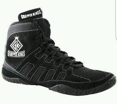 Grapple Kings Mma Wrestling Shoes Trainers Boots Straps Laces Size 7