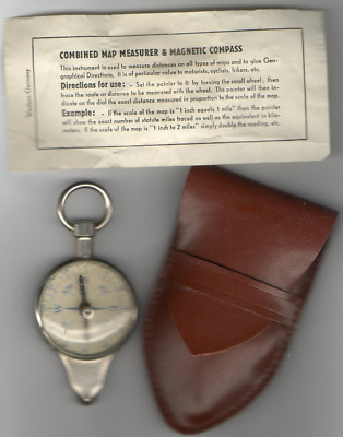 Vintage MAP MEASURE & MAGNETIC COMPASS w Leather Case & Instructions, Made in GE