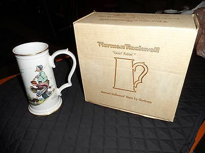 """Limited Edition Norman Rockwell """"Goin' Fishin' """"  Gorham Annual Collector Stein"""