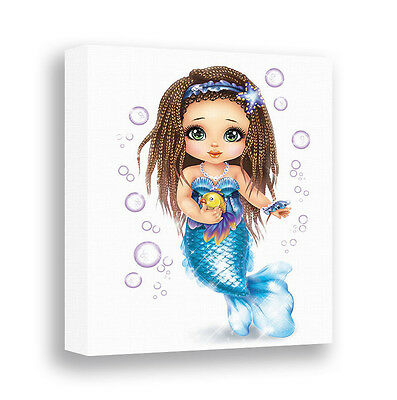 Mermaid Wall Art Canvas Print Bathroom Wall Decor Girls Wall Art Children Art