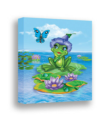Frog Art Canvas Print Baby Girl Room Decor Nursery Wall Art Kids Childrens Art