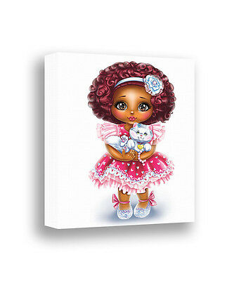 African American Girl Art Canvas Print Nursery Wall Decor Dark Skin Baby Girl