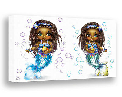 Mermaids Wall Art African American Girls Canvas Print Twin Sisters Wall Decor
