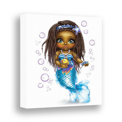 African American Mermaid Wall Art Canvas Print Bathroom Wall Decor Girls Nursery