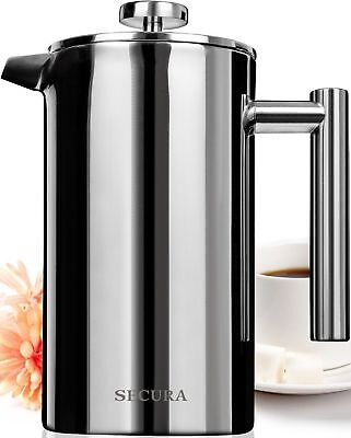 Secura French Press Coffee Maker Stainless Steel 18/10 34-Ounce/1000milli... New