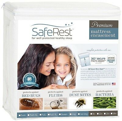 Queen Size SafeRest Waterproof Lab Certified Bed Bug Proof Zippered Mattr... New
