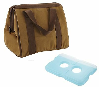 Fit & Fresh Men's the Big Phil Insulated Lunch Bag with Ice Pack Brown New