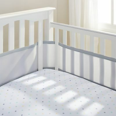 Breathable Baby Safer Crib Liner/Bumper Grey New