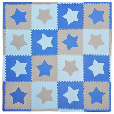 Tadpoles Playmat Set 16-Piece Stars Blue/Grey New