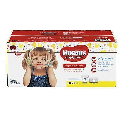Huggies Simply Clean Fragrance Free Baby Wipes Refills Retail Case with E... New