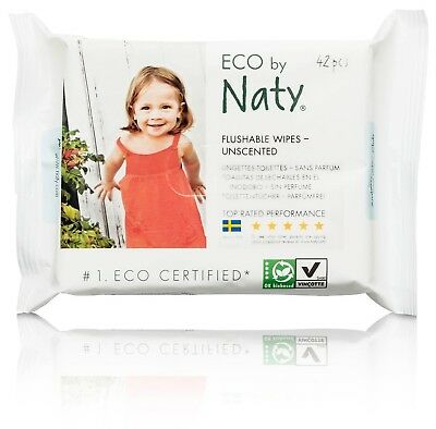 Naty by Nature Babycare Fragrance-Free Eco-Toddler Flushable Wipes 504 Co... New