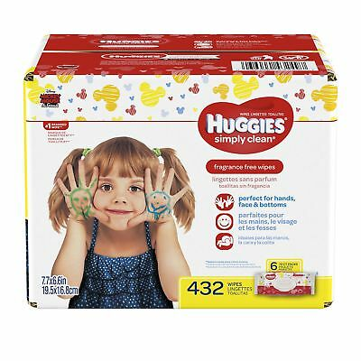 HUGGIES Simply Clean Fragrance-free Baby Wipes Soft Pack (6-Pack 432 Shee... New
