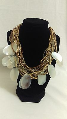 Vintage BOHO shell and wood necklace