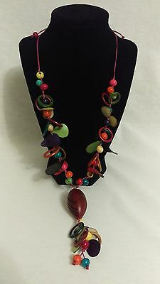 Vintage BOHO whimsical colorful wood bead and mix necklace