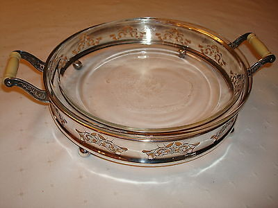 Antique Roden Bros Silver Casserole Entree Dish Glass Liner French Handles, 1891