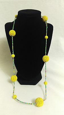 Vintage BOHO yellow beads and green beads necklace hippie