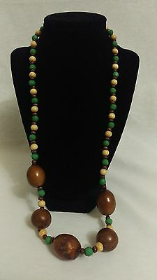 Vintage BOHO green wood bead and large wood bead necklace