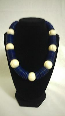 Vintage BOHO blue wood disc and white ball necklace