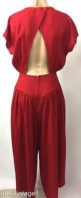 VINTAGE 80s RED backless cinch RIBBON design open DRAPING 3/4 pants JUMPSUIT 8